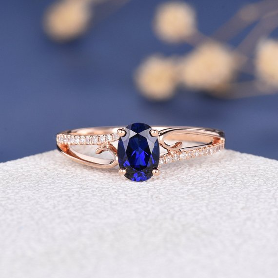 18K Rose Gold Engagement Ring Lab Sapphire Antique Unique Curved Oval Bridal Women Vine Antique September Birthstone Butterfly Diamond Ring DJ466