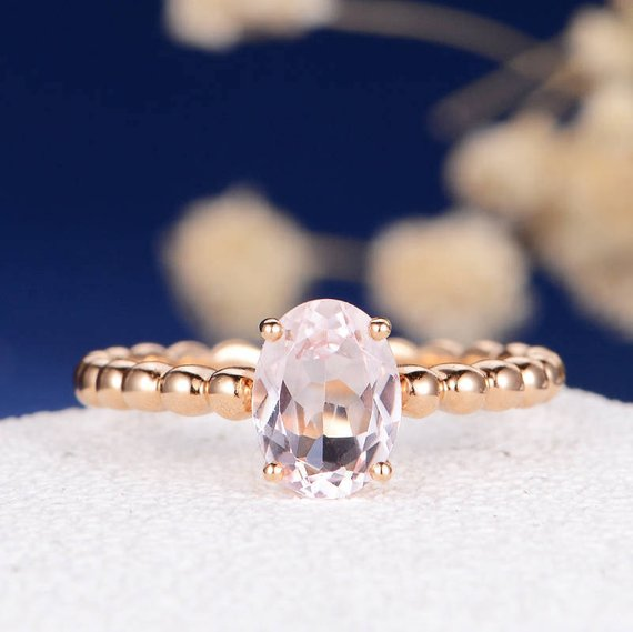 14K Gold Simple Oval Cut Morganite Engagement Ring