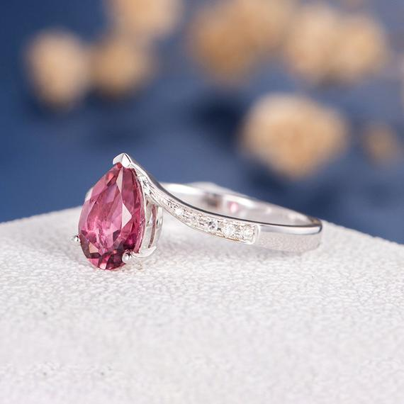 18K Pear Shaped Engagement Ring Pink Tourmaline Pear Cut White Gold Ring Unique Vintage Anniversary Cocktail Curved October Birthstone DJ577
