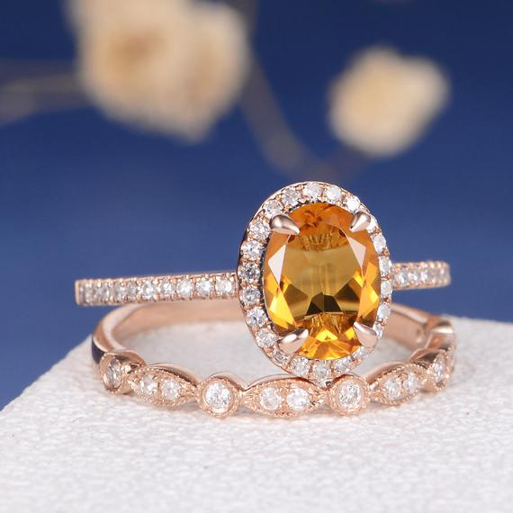 18K Antique Citrine Ring Citrine Engagement Ring Set Oval Cut Birthstone Bridal Diamond Art Deco Wedding Band Women Anniversary Gift Custom 2pcs DJ594