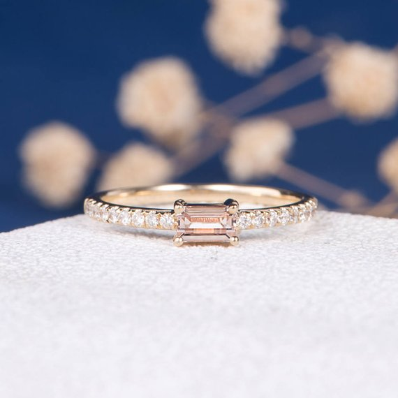 18k Engagement Ring Baguette Wedding Band Minimalist Rose Gold Delicate  Morganite Ring Women Bridal Morganite Band b884229a70e8