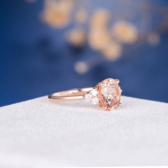 18k Morganite Ring Rose Gold Engagement Ring Oval Cut Wedding Cluster Diamond Anniversary Gemstone Multistone Ring Women Unique Retro