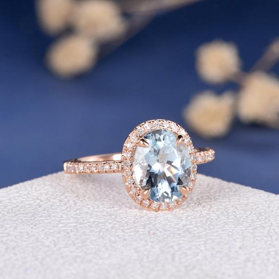 18K Oval Cut Aquamarine Engagement Ring Rose Gold Wedding Ring March Birthstone Bridal Women Diamond Pave Minimalist Graduation Gift for Her DJ355