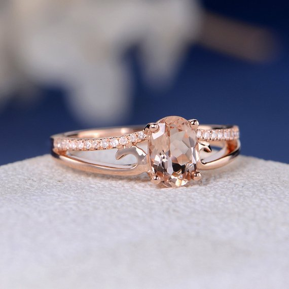18k Unique Morganite Engagement Ring Morganite Ring Rose Gold Engagement Ring Oval Peachy Morganite Vine Ring Twig Flower Curve