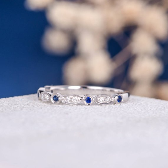 18K Art Deco Sapphire Diamond Band White Gold Wedding Band Women Unique September Birthstone Antique Stacking Anniversary Bridal Ring Eternity DJ270