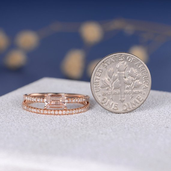 18K Gold Baguette Morganite Engagement Ring Bridal Set 2pcs