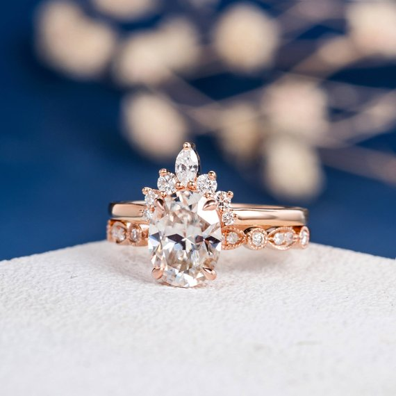 18K Unique Moissanite Engagement Ring Set Rose Gold Marquise Diamond Art Deco Band Oval Cut Bridal Wedding Antique Promise Women Anniversary 2pc