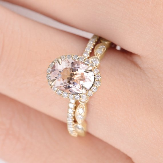 18k Morganite Ring Oval Cut Engagement Ring Rose Gold Halo Diamond Micro Pave Minimalist Half Eternity Anniversary Art Deco Wedding Ring 2pcs