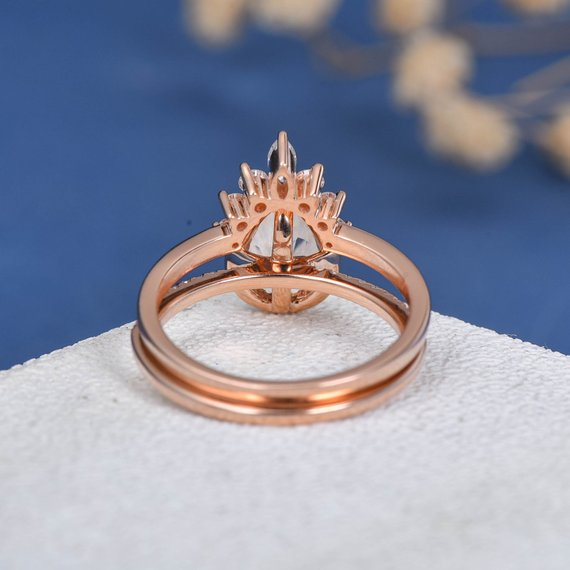 18k Pear Shaped Engagement Ring Morganite Engagement Ring Set Rose Gold Bridal Set Diamond Unique Marquise Diamond Wedding Band Women 2pcs