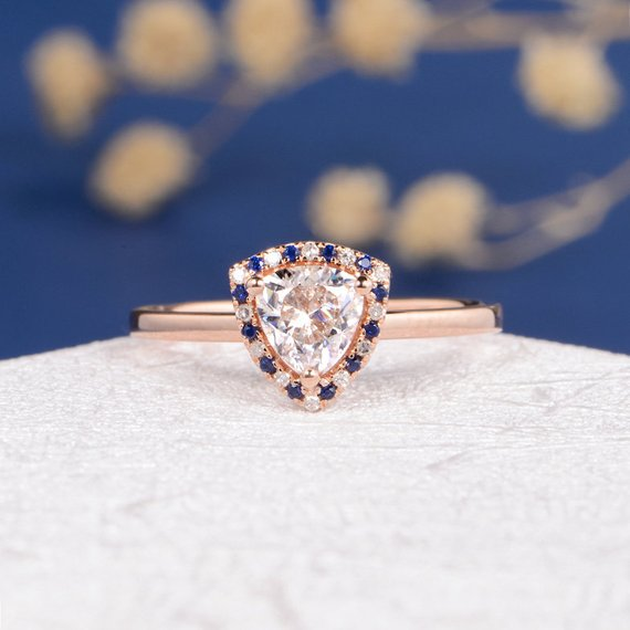 14K Unique Triangle Moissanite Ring Moissanite Engagement Ring Rose Gold Trillion Cut Moissanite Sapphire Diamond Halo Egyptian Style Queen