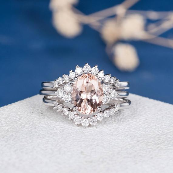 18K Gold Oval Cut Antique Morganite Engagement Ring Set 3pcs