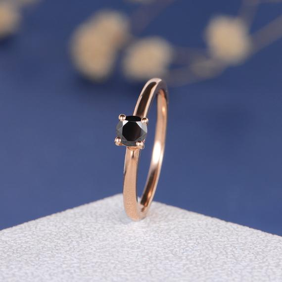 18K CZ Ring Rose Gold Engagement Ring Dainty Black Cubic Zircon Engagement Ring For Women Bridal Birthstone Custom Simple Solitaire Minimalist DJ592