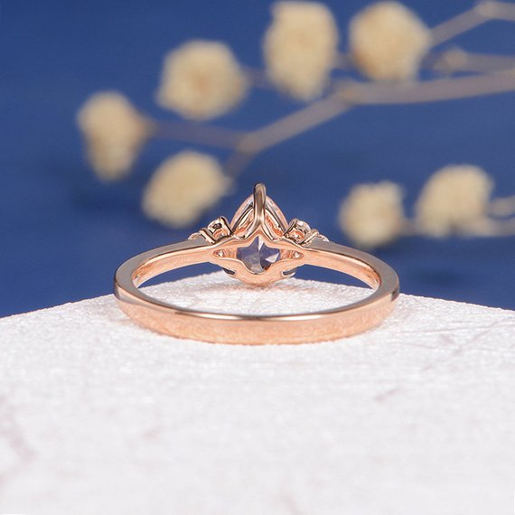 18k Morganite Ring Rose Gold Pear Shaped Engagement Ring Women Bridal Peachy Pear Cut Wedding Anniversary Custom Jewelry Gift Cluster Diamond