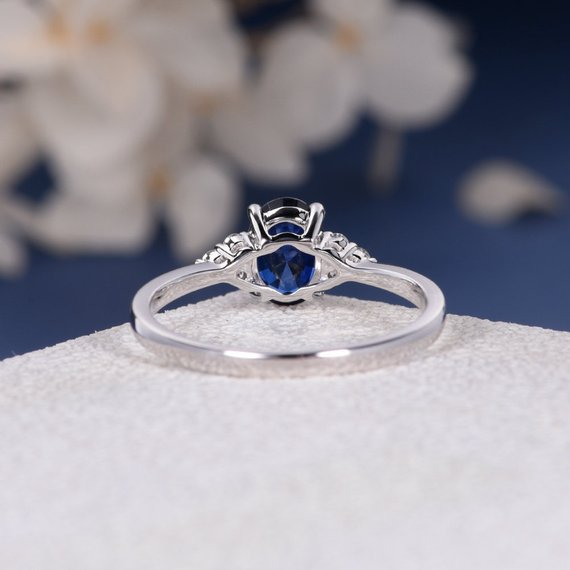 18K Oval Cut Lab Sapphire Engagement Ring Rose Gold September Birthstone Diamond Cluster Ring Women Bridal Wedding Anniversary Her Gift Custom DJ463