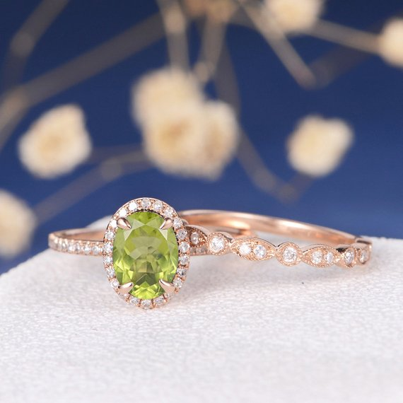 18K Oval Cut Peridot Engagement Ring Bridal Set Rose Gold Art Deco Women Diamond Ring Halo Claw Prongs Antique Ring August Birthstone 2pcs DJ562
