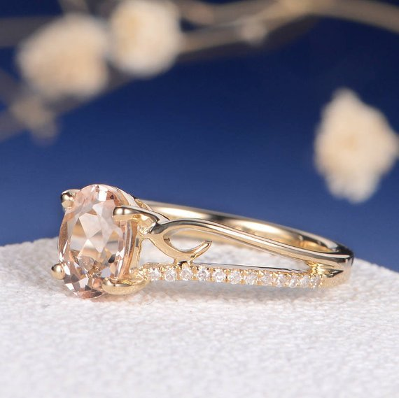 18k Morganite Engagement Ring Antique Oval Cut Women Vine Unique Butterfly Wedding Bridal Anniversary Gift Diamond Retro Peachy Morganite Gold