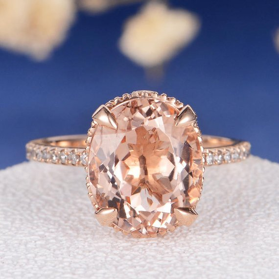 14K Gold Oval Cut Art Deco 9x11mm Morganite Engagement Ring