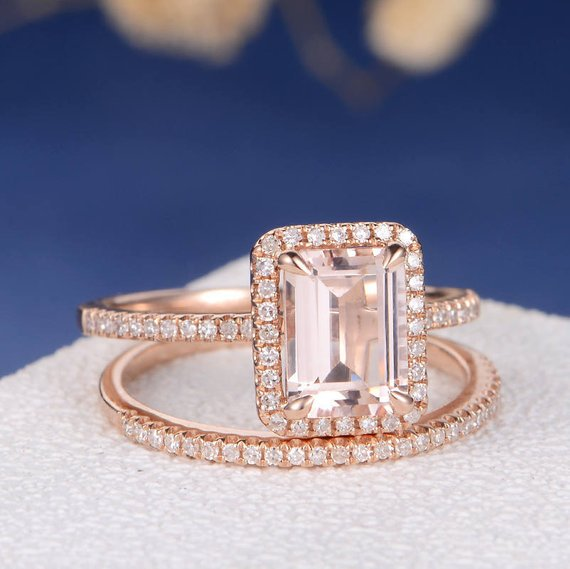 18k Emerald Cut Morganite Bridal Sets Rose Gold Engagement Ring Antique Wedding Band Women Bridal Ring Diamond Halo Eternity Pave Stacking 2pcs