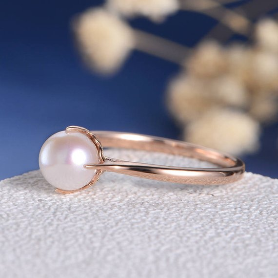 18K Antique Pearl Ring Rose Gold Engagement Ring Birthstone Solitaire Thin Art Deco Vine Heart Stacking Women Anniversary Gift Promise Filigree DJ413