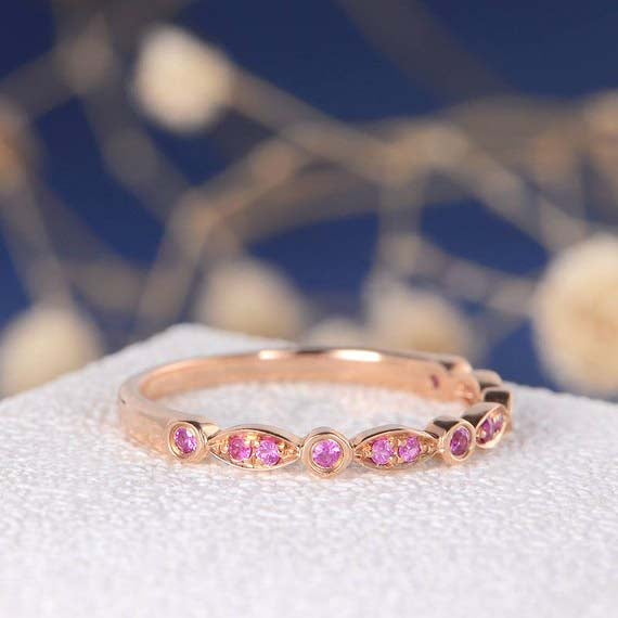 18K Ruby Band Wedding Band Women Rose Gold Half Eternity June Birthstone Bezel Milgrain Antique Art Deco Marquise & Dot Ring Anniversary Promise