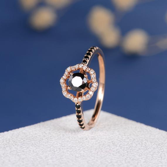 18K Black Cubic Zircon Ring Rose Gold Engagement Ring CZ Diamond Flower Antique Retro Women Bridal Wedding Birthstone Custom Anniversary Gift DJ597