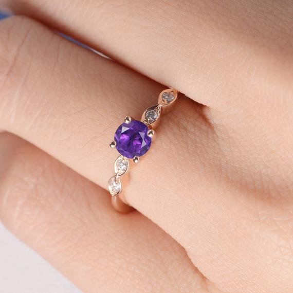 18K Art Deco Ring Amethyst Engagement Ring Rose Gold Wedding Diamond Women Antique Bridal February Birthstone Anniversary Free Engraving Custom DJ550