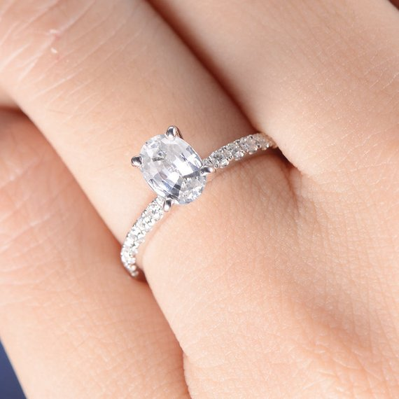 18K White Sapphire Engagement Ring White Gold Oval Cut Solitaire Diamond Eternity Ring Simple Anniversary Promise Minimalist Birthstone Ring DJ475