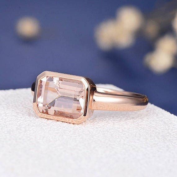 2.26CT 14K Gold Emerald Cut Morganite Engagement Ring Bezel Set