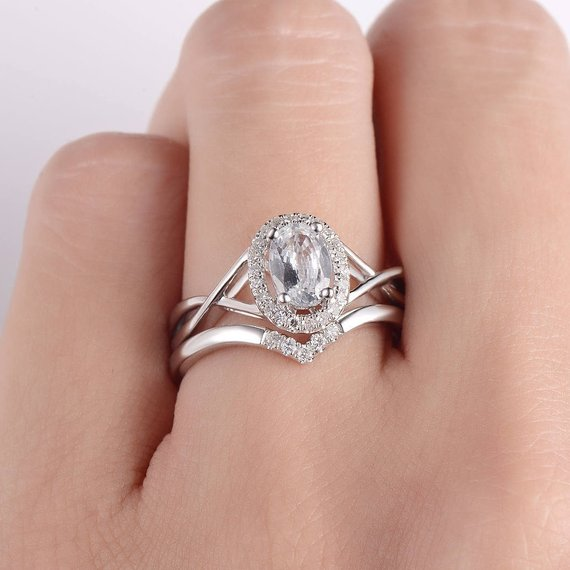 18K White Sapphire Engagement Ring Set Bridal Set Oval Cut Wedding Ring Chevron Ring White Gold Infinity Band Cross unique Halo Birthstone 2pcs DJ456