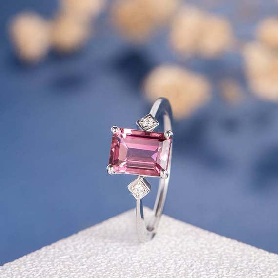 18K Emerald Cut Pink Tourmaline Ring White Gold Engagement Ring Diamond Birthstone Thin Band Antique Anniversary Promise Wedding Solitaire Ring DJ575