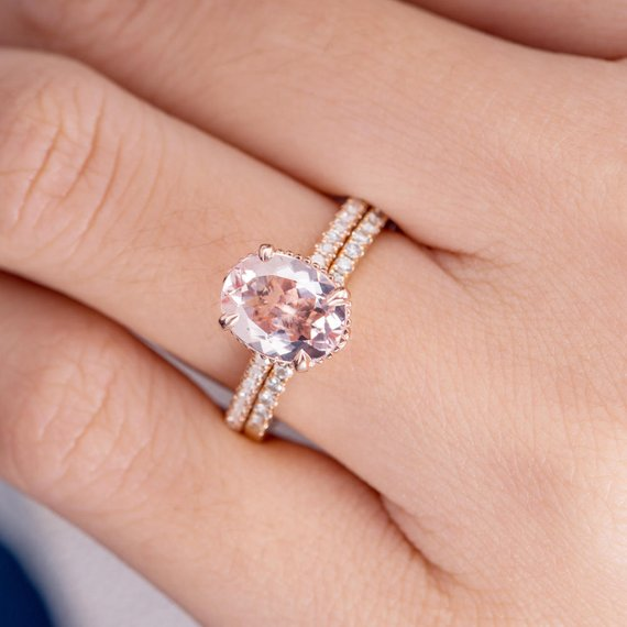 18K Gold ique Unique Oval Cut Art Deco Morganite Engagement Ring Bridal Set 2pc