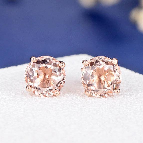 18K Gold Art Deco Morganite Earring