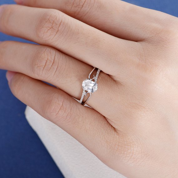 18K White Sapphire Engagement Ring White Gold Wedding Ring Oval Cut White Sapphire Vine Twig Antique Ring For Woman Diamond Solitaire Vintage DJ484