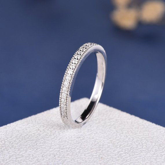18K Wedding Band Women White Gold Moissanite Ring Antique Retro Art Deco Bridal Moissanite Band Milgrain Edge Stacking Stackable Wedding Unique