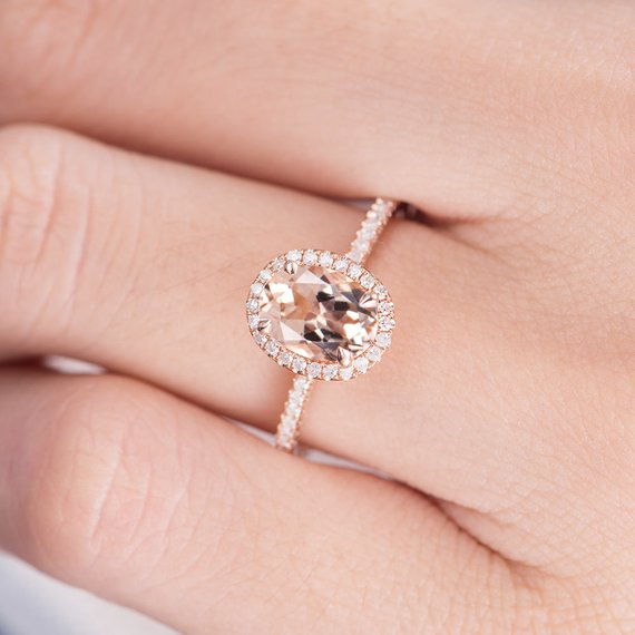 14K Gold Oval Cut Morganite Engagement Ring