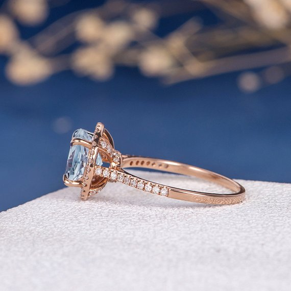 18K Unique Aquamarine Engagement Ring Rose Gold Birthstone Ring Diamond Halo Ring Anniversary Promise Wedding Bridal Women Claw Prongs 8mm DJ337