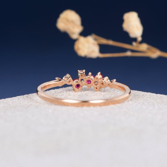 18K Ruby Diamond Twig Ring Unique Cluster Engagement Ring Diamond Wedding Band Unique Snowflake Birthstone Rose Gold Flower Gift for Women DJ285