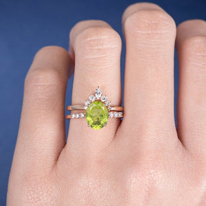 18K Peridot Ring Set Oval Cut Bridal Set Yellow Gold Unique Wedding Curved Band Wedding Band Women August Birthstone Marquise Diamond Band 2pcs DJ572