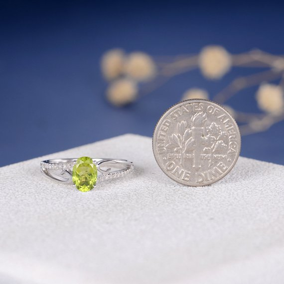 18K Peridot Engagement Ring Antique Vine Ring Unique Curved Oval Peridot Women August Birthstone Butterfly Diamond Ring Infinity Twig White Gold DJ566