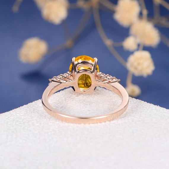 18K Oval Cut Citrine Engagement Ring Rose Gold Citrine Ring Solitaire Bridal Ring Wedding Birthstone Simple Classic Side Stones Promise Gift DJ591