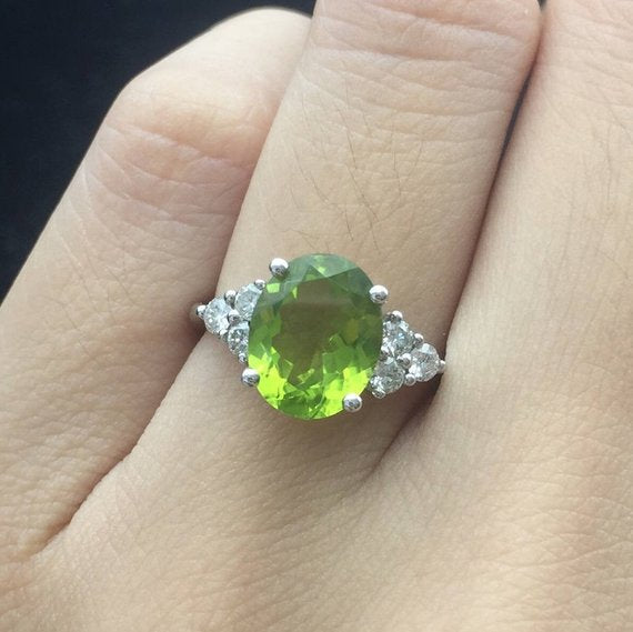 18K Peridot Engagement Ring White Gold Oval Cut Cluster Diamond Antique Birthstone Bridal Anniversary Gift Promise Birthday Gift Women Wedding DJ570