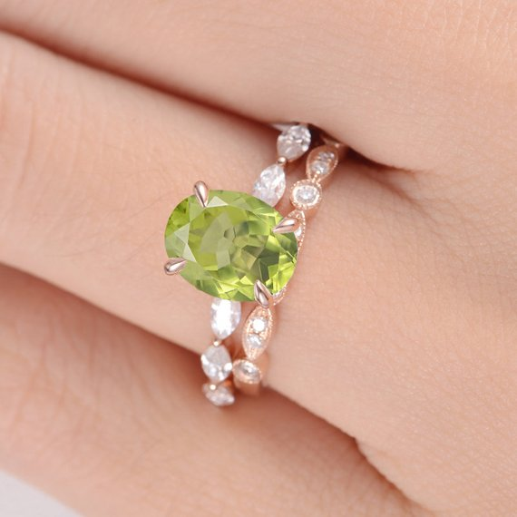 18K Peridot Rose Gold Engagement Ring Oval Cut Peridot Antique Rings Bridal Sets Marquise Moissanite Art Deco Wedding Band Women Birthstone 2pcs DJ565