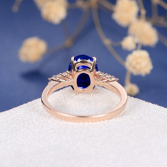 18K Lab Sapphire Engagement Ring Solitaire Ring Rose Gold Bridal Ring Women Wedding September Birthstone Side Stones Promise Anniversary Gift DJ481