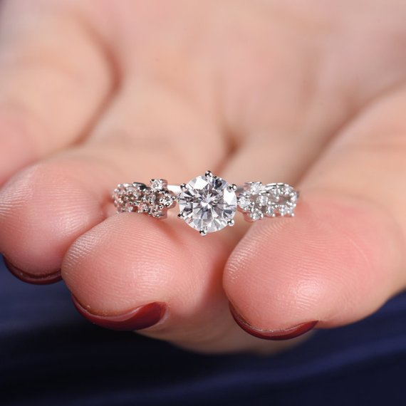 14K Unique Moissanite Engagement Ring White Gold Cluster Ring Flower Snowflake Twig Art Deco Wedding Women Antique Anniversary Star Floral