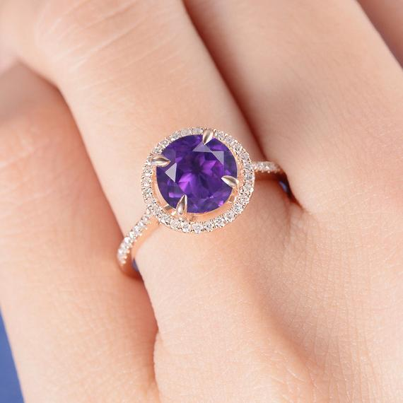 18K 8mm Natural Amethyst Ring Rose Gold Unique Engagement Ring Special Ring Setting Diamond Halo for Women Anniversary Gift February Birthstone DJ557