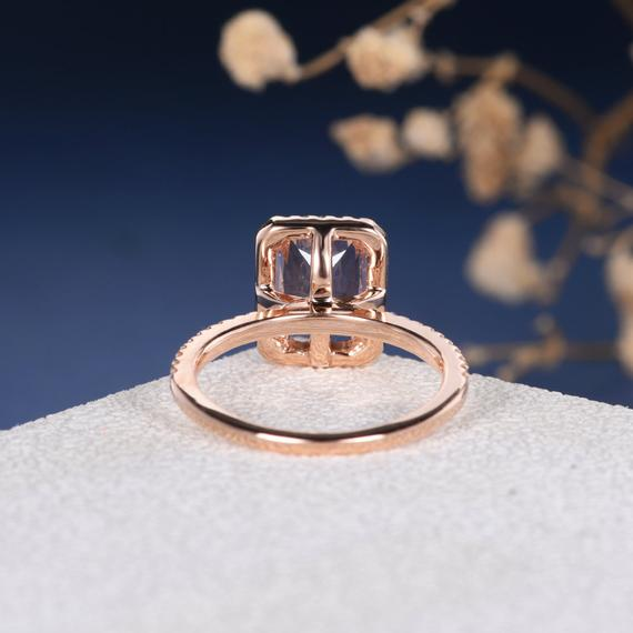 18K Gold Radiant Cut 6x8mm Morganite Engagement Ring