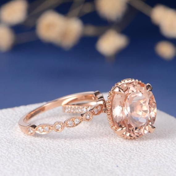 18K Gold Antique Unique Oval Cut Art Deco Morganite Engagement Ring Bridal Set 2pcs