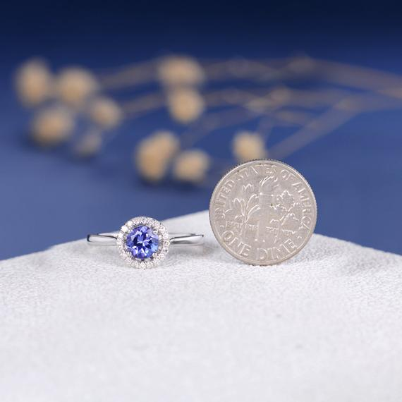 18K Tanzanite Engagement Ring Sun Minimalist Solitaire Ring Diamond Halo Plain Band 5.5mm Tanzanite Ring Birthstone Ring Anniversary Her Gift DJ599