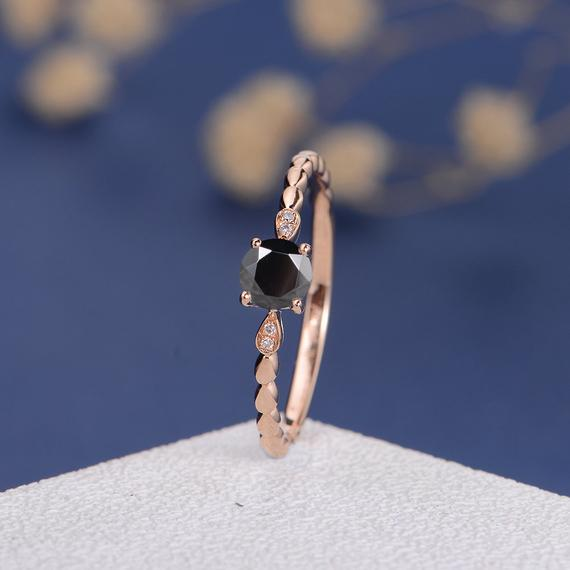 18K Rose Gold CZ Ring Black Cubic Zircon Engagement Ring Diamond Family Ring Antique Retro Women Bridal Wedding Birthstone Custom Art Deco DJ593