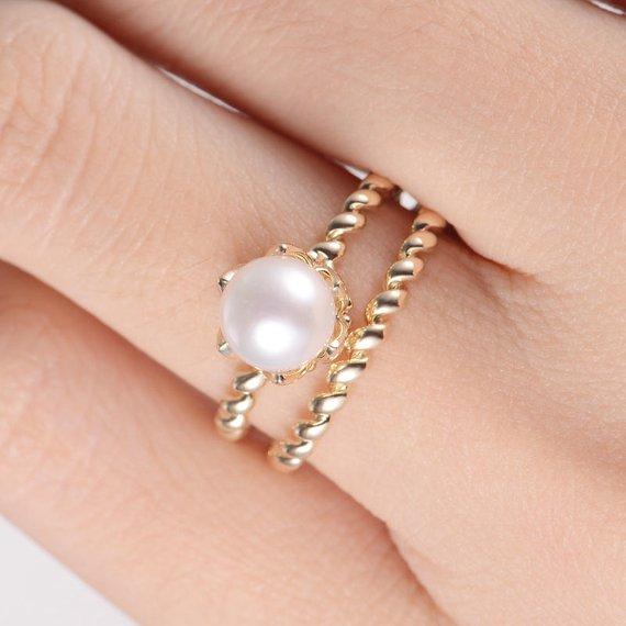 18K Akoya Pearl Bridal Set Engagement Ring Antique Twisted Eternity Wedding Band Women Flower Floral Anniversary Beaded Plain Yellow Gold 2pcs DJ417
